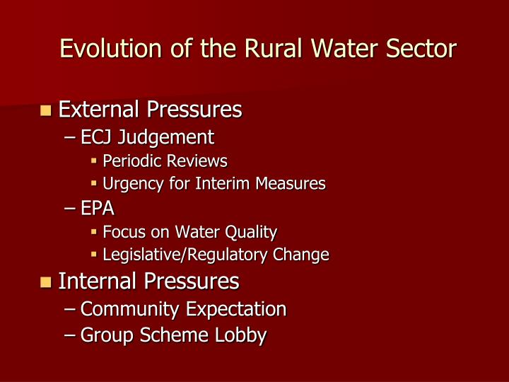 Evolution of the Rural Water Sector