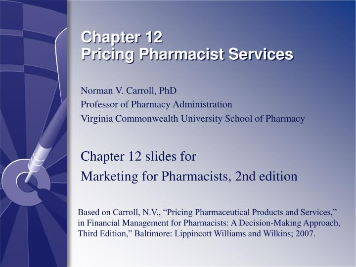 chapter 12 pricing pharmacist services n.