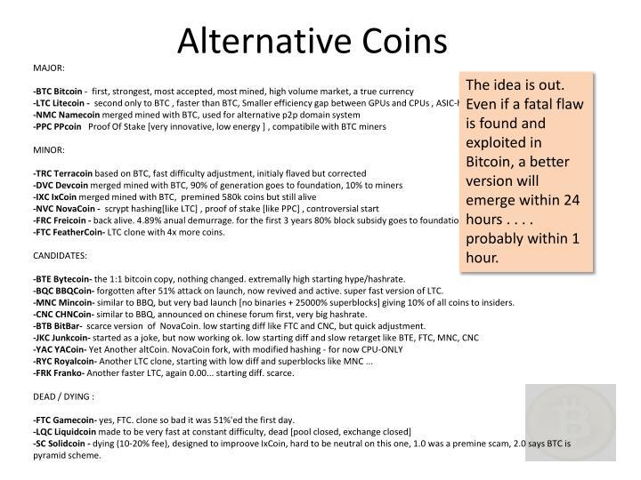 Alternative Coins