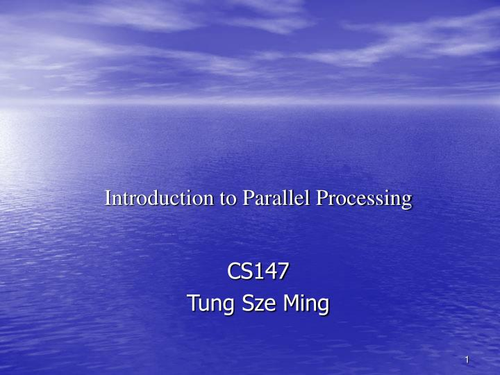 introduction to parallel processing n.