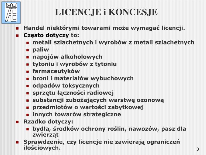 Licencje i koncesje
