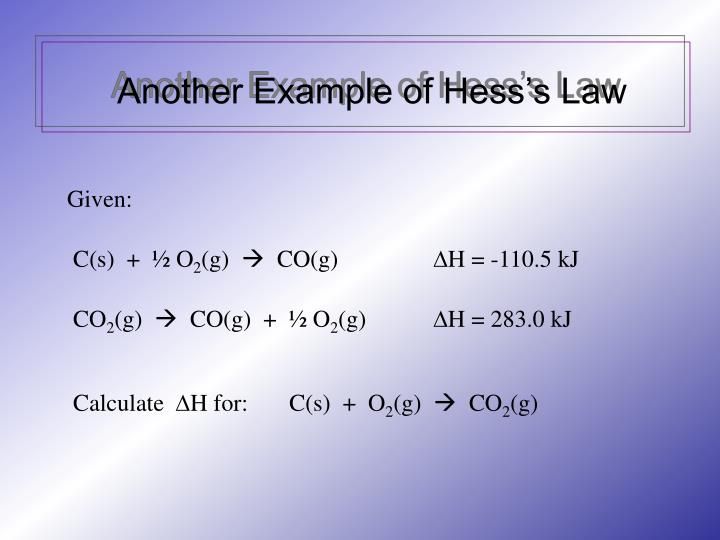 Another Example of Hess's Law