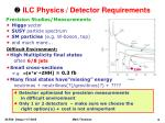 ilc physics detector requirements