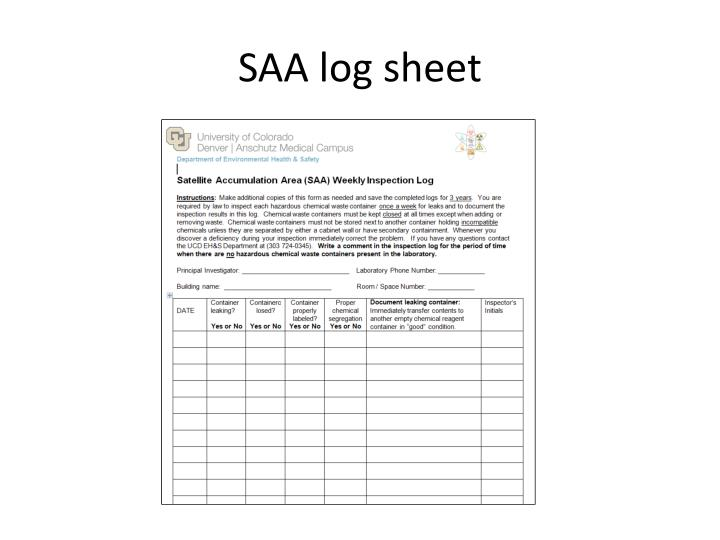SAA log sheet