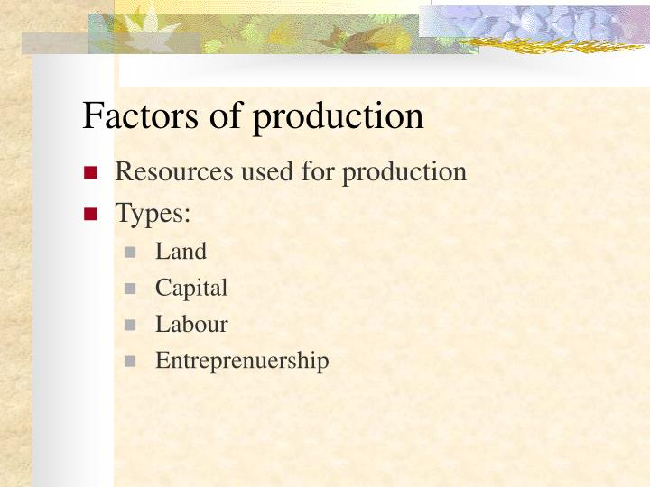 different types of factors of production