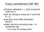 fuzzy commitment jw 99