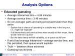 analysis options