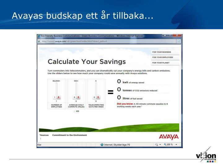 Avayas budskap ett år tillbaka...