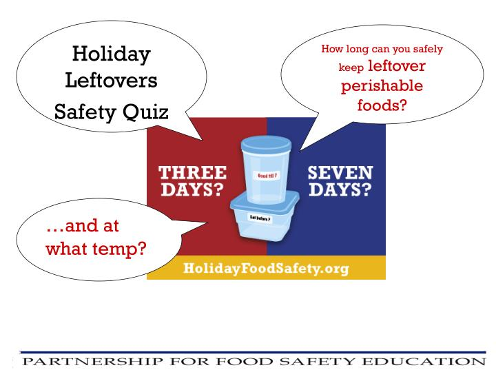 Holiday Leftovers Safety Quiz