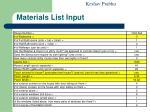materials list input