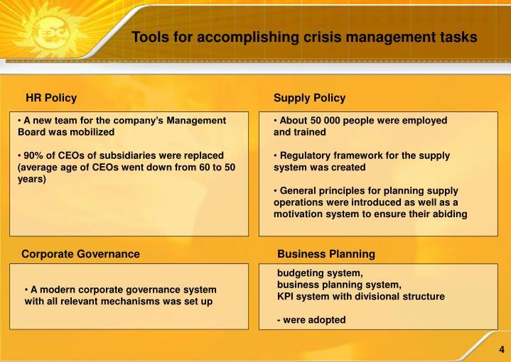 Tools for accomplishing crisis management tasks