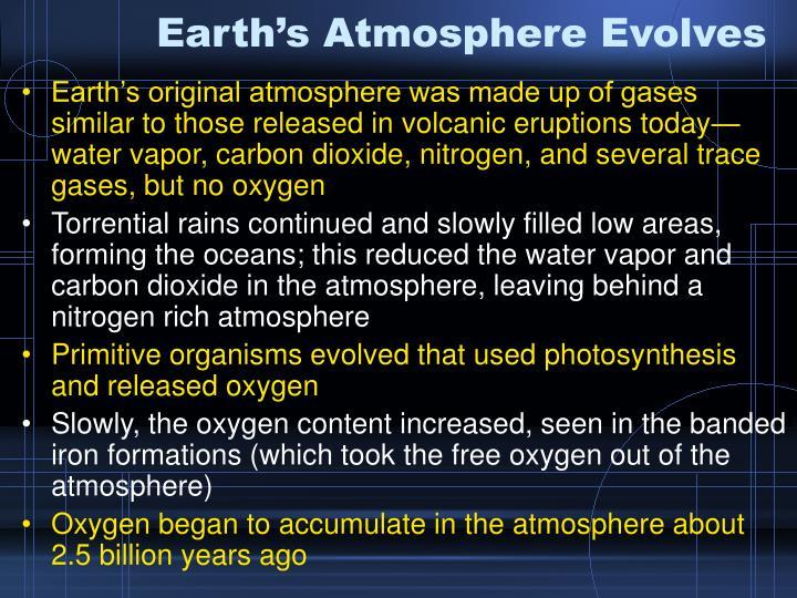 Earth's Atmosphere Evolves