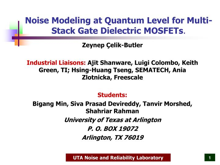 noise modeling at quantum level for multi stack gate dielectric mosfets