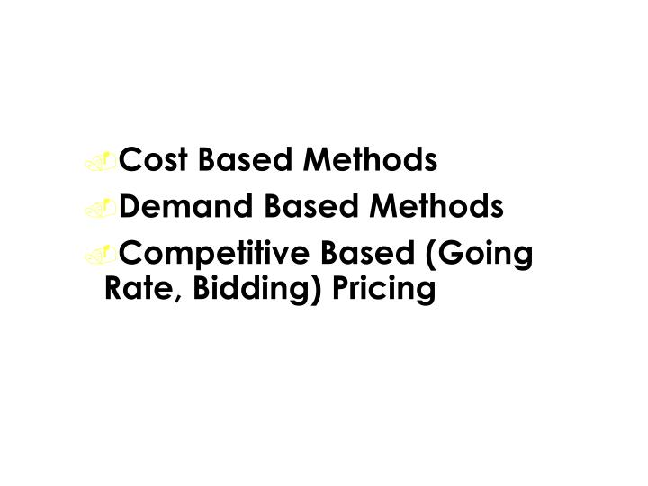 Pricing Methods (Formulas)