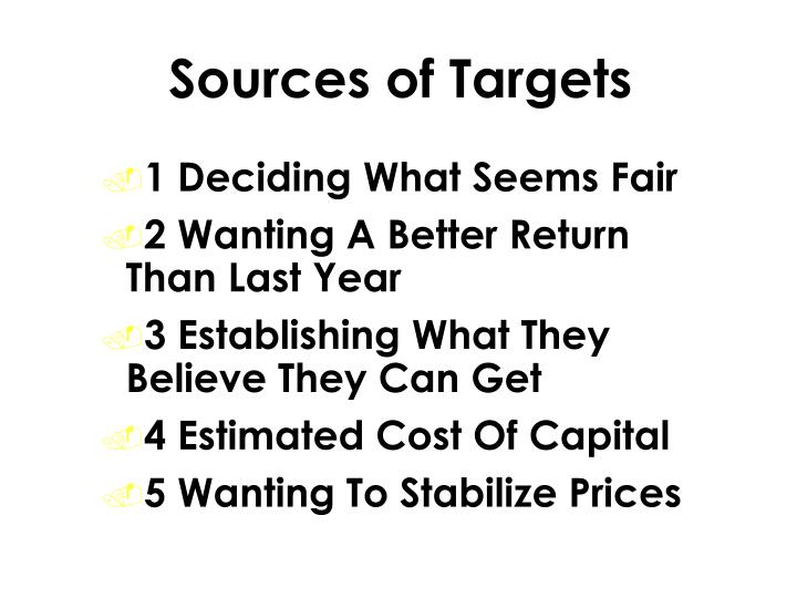 Sources of Targets