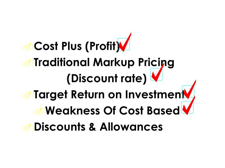 Types of Cost Based Formulas