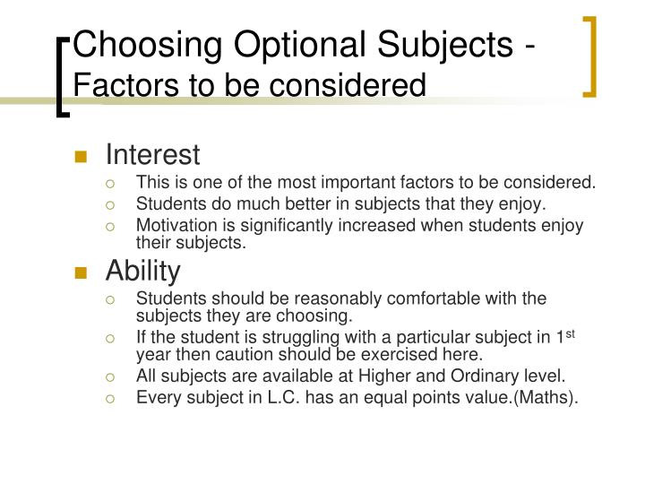 Choosing Optional Subjects -