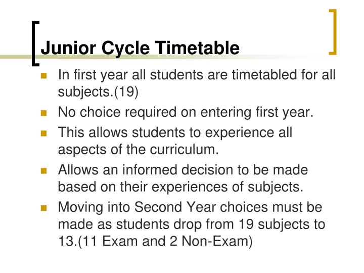 Junior cycle timetable