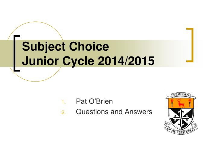 Subject choice junior cycle 2014 2015