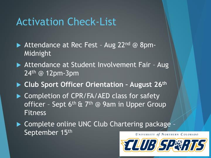 Activation Check-List