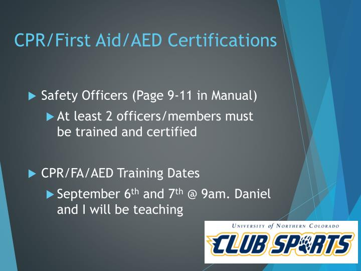 CPR/First Aid/AED Certifications