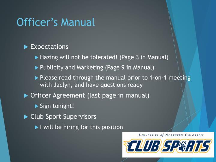 Officer's Manual