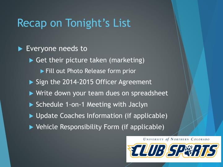 Recap on Tonight's List
