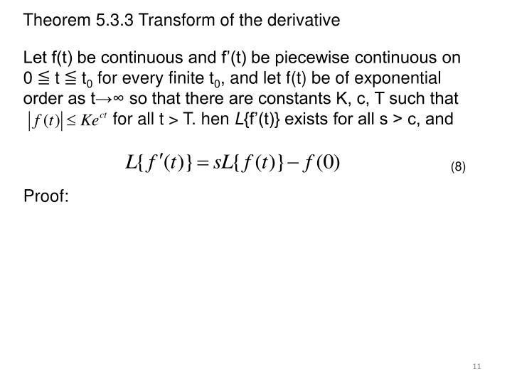 Theorem 5.3.3 Transform of the derivative