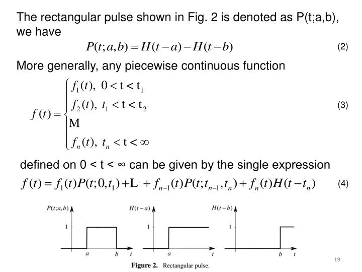 The rectangular pulse shown in Fig. 2 is denoted as P(t;a,b),