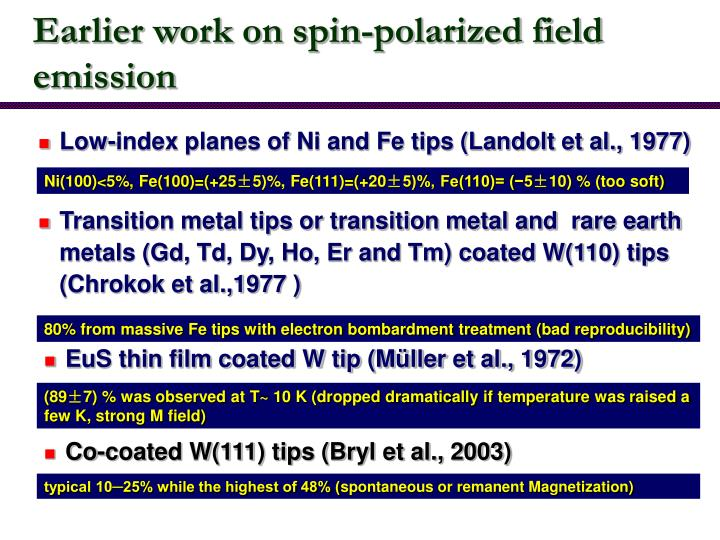 Earlier work on spin-polarized field emission