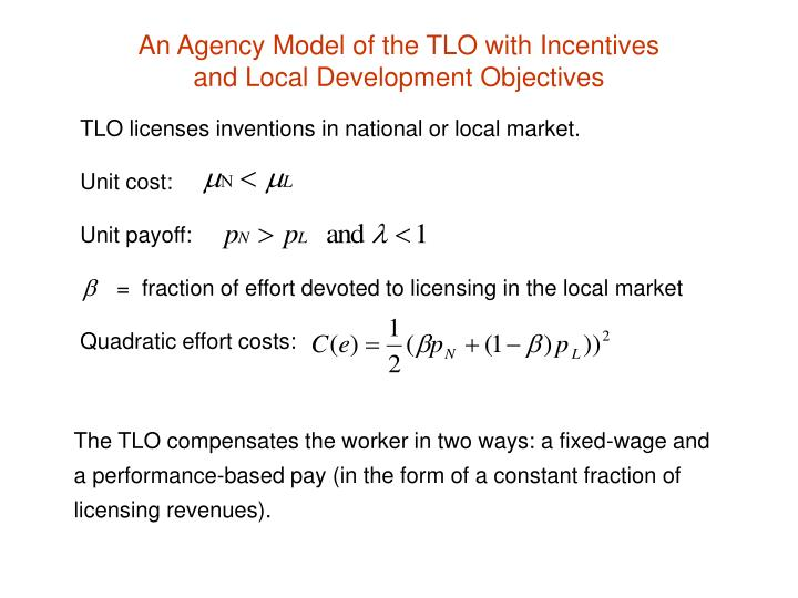 An Agency Model of the TLO with Incentives