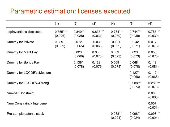Parametric estimation: licenses executed