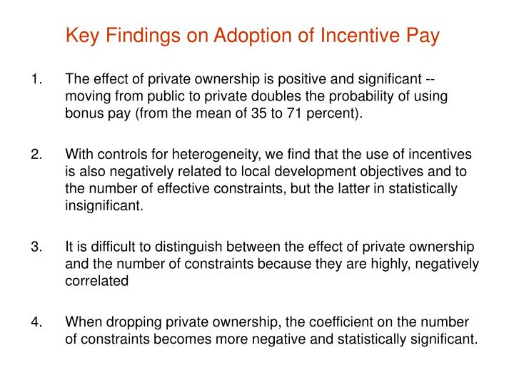 Key Findings on Adoption of Incentive Pay