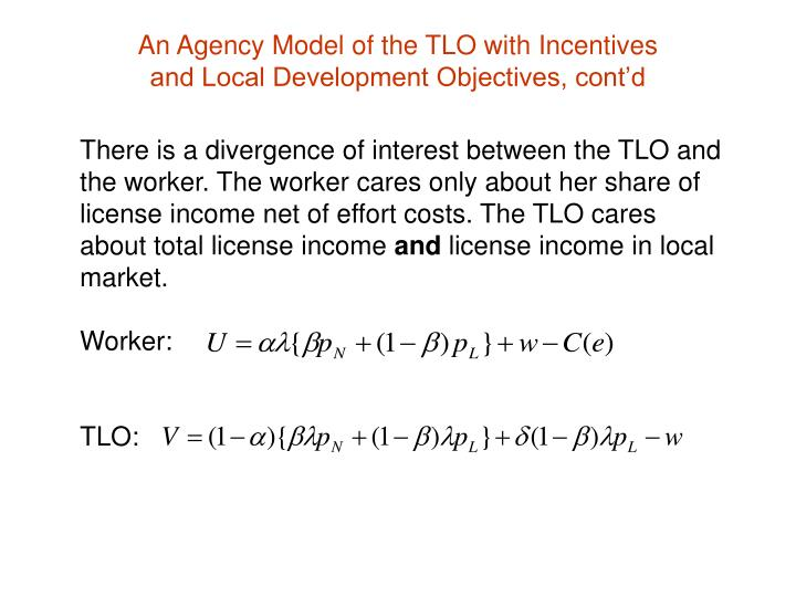 There is a divergence of interest between the TLO and the worker. The worker cares only about her share of license income net of effort costs. The TLO cares about total license income