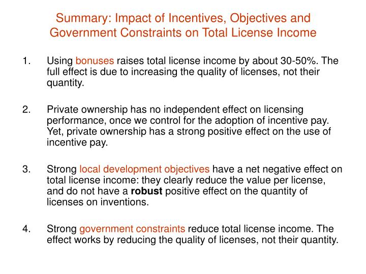 Summary: Impact of Incentives, Objectives and Government Constraints on Total License Income