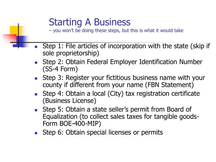 Starting a business you won t be doing these steps but this is what it would take