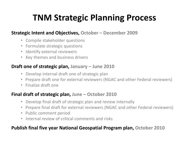 Tnm strategic planning process