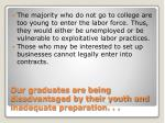 our graduates are being disadvantaged by their youth and inadequate preparation
