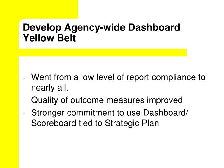Develop Agency-wide Dashboard