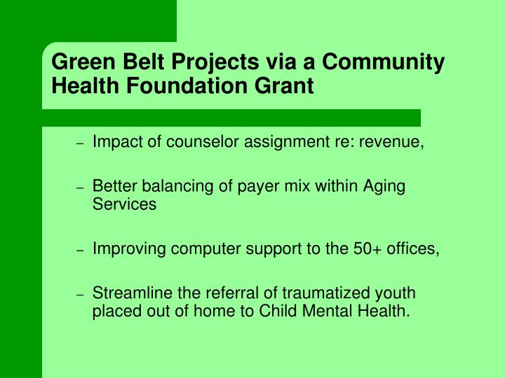 Green Belt Projects via a Community Health Foundation Grant