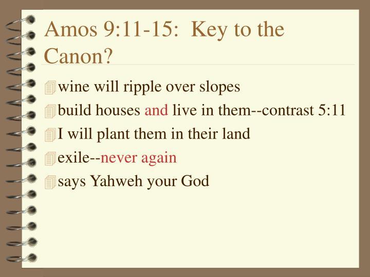 Amos 9:11-15:  Key to the Canon?