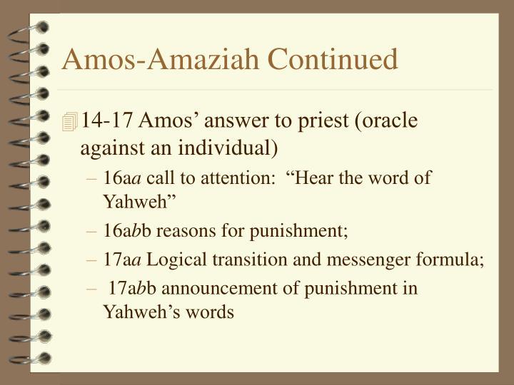 Amos amaziah continued