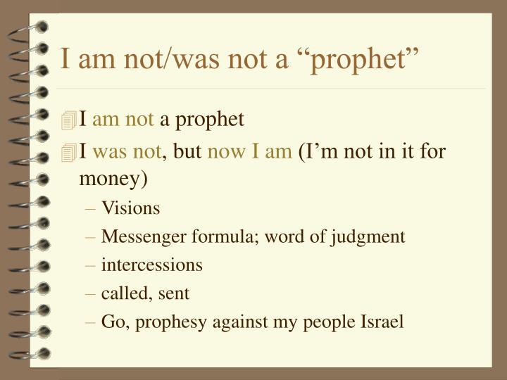 "I am not/was not a ""prophet"""