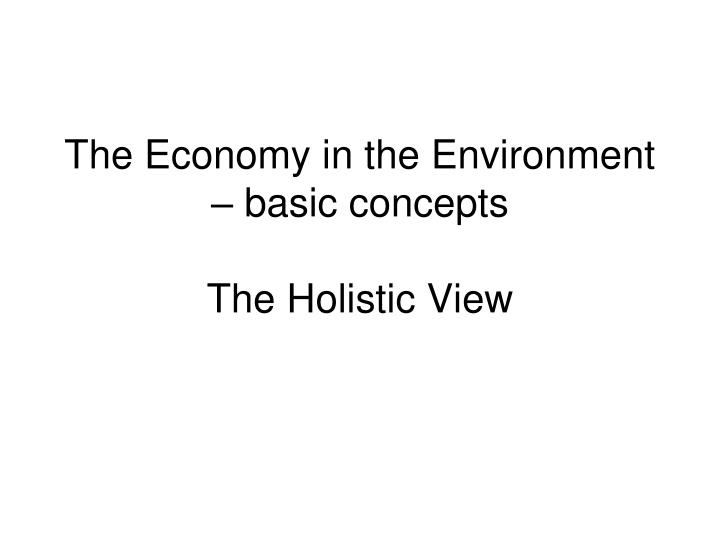 the economy in the environment basic concepts the holistic view n.