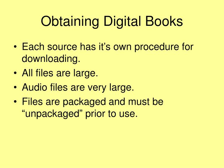 Obtaining Digital Books