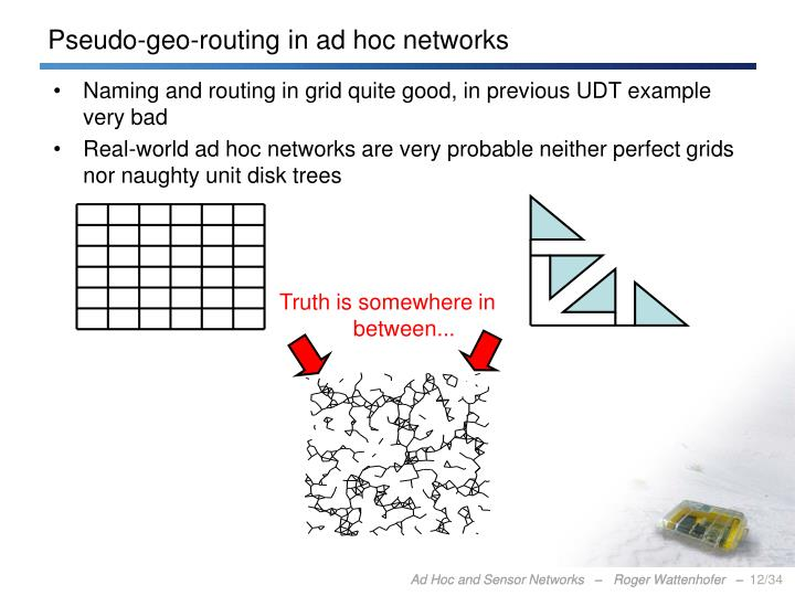Pseudo-geo-routing in ad hoc networks