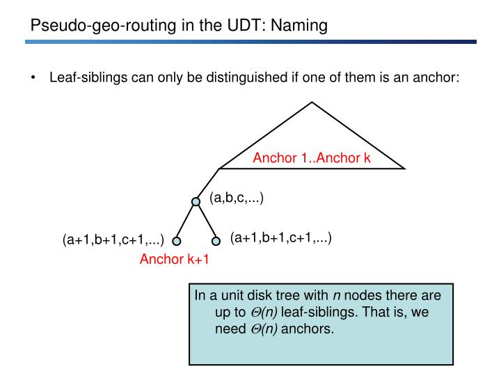 Pseudo-geo-routing in the UDT: Naming