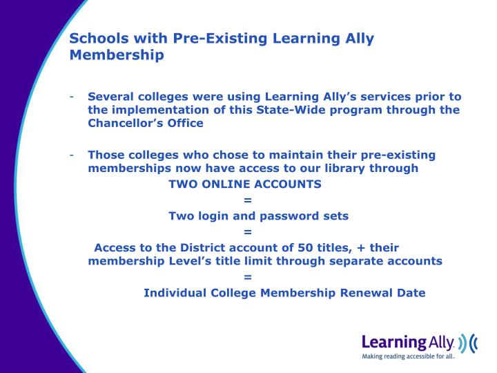 Schools with Pre-Existing Learning Ally Membership