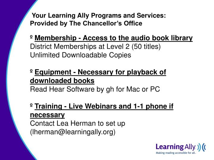 Your Learning Ally Programs and Services: