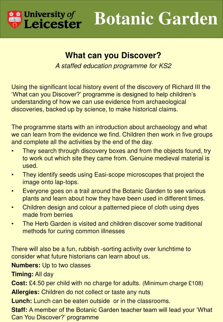 What can you Discover?